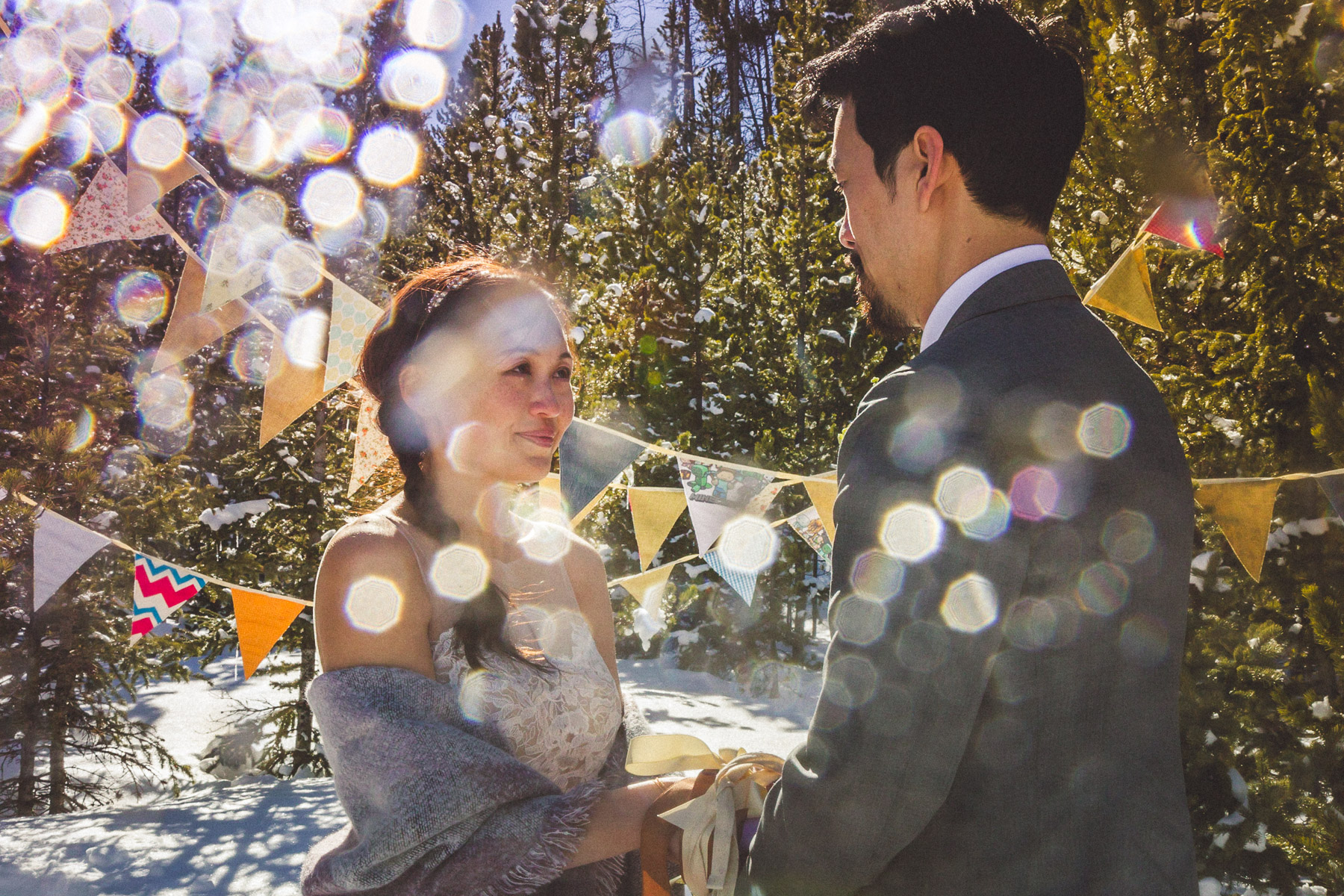 Intimate wedding ceremony in the snow